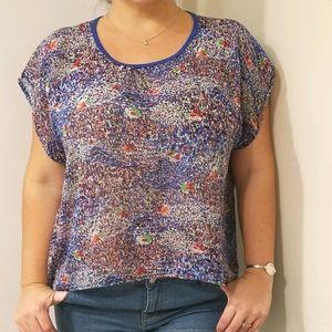 Twenty One Blue flowey blouse Size L